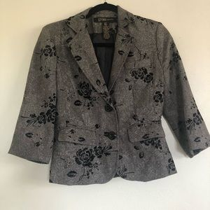 Grass Collection Gray Blazer with Velvet Flowers.